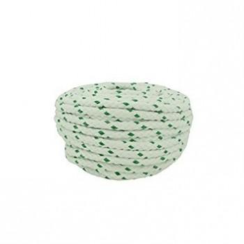 Corde polyester VISO  préétirée Blanc fil Vert diamètre 8mm longueur 20m