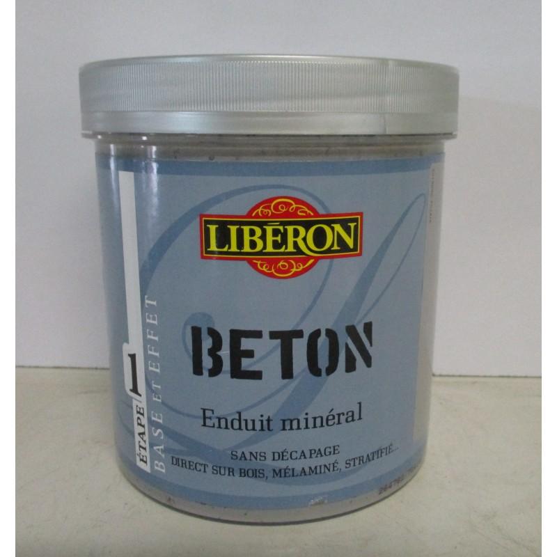 Enduit min ral effet b ton liberon 1l 500ml satin en promotion - Enduit effet beton ...